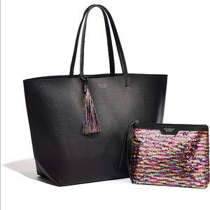 NWT Victoria's Secret Tote Bag & Sequin Pouch Set
